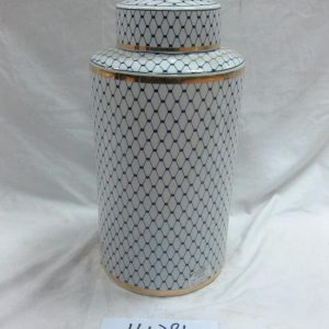 RZKA161281 Blue and white grid pattern wholesale Jingdezhen China made gold line gilded ceramic jar