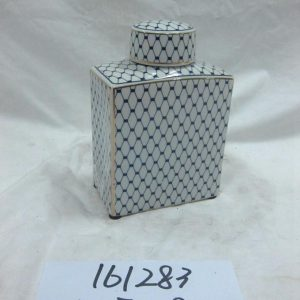 RZKA161283 Golden line grid pattern rectangular shape ceramic jar