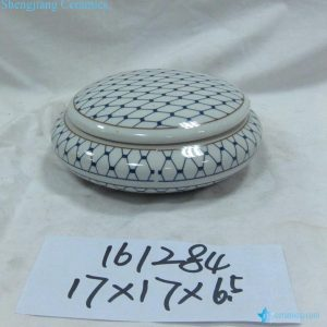 RZKA161284 Blue and white grid pattern flat short ceramic small container