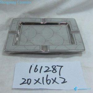 RZKA161287 Curvy line pattern silver rectangular porcelain ashtray