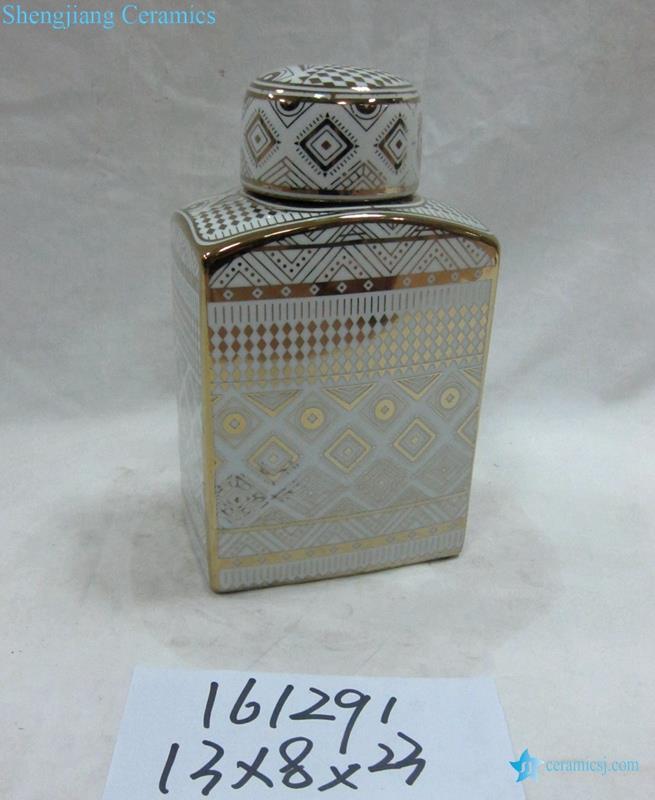 Golden tabular shape home decor porcelain jar