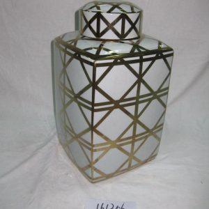 RZKA161306 Factory supplier wholesale price golden line pattern pottery square box jar
