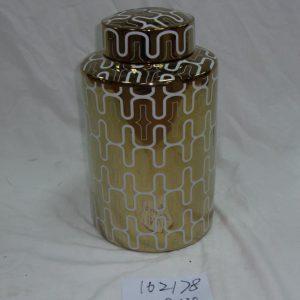 RZKA162178 Golden background white wave line pattern ceramic jar for online promotion