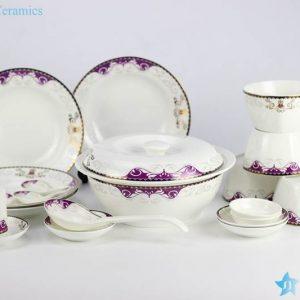 DZ-RZHF02 Purple rhythm ceramic soup spoon, pot, bowl, plate ceramic dinner ware