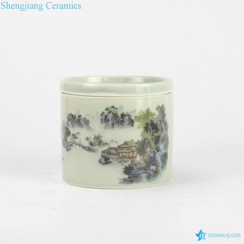top of mountain pattern ceramic cricket can