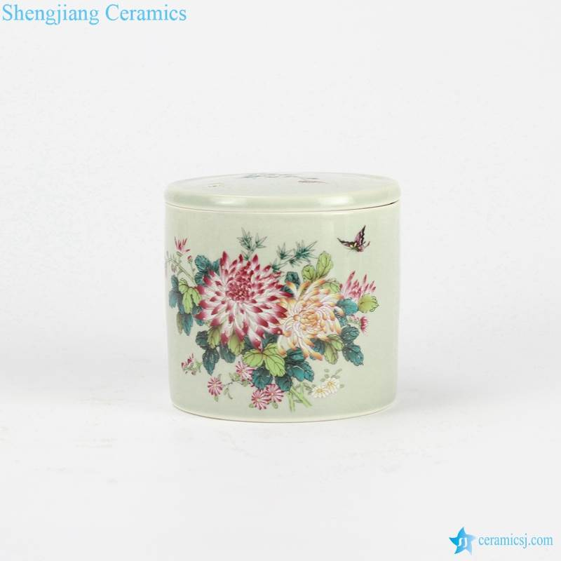 peony flower and butterfly mark round ceramic container