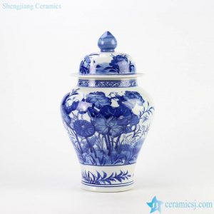 RYCI39 Blue and white hand paint bird and lotus leaf pattern ceramic temple jar
