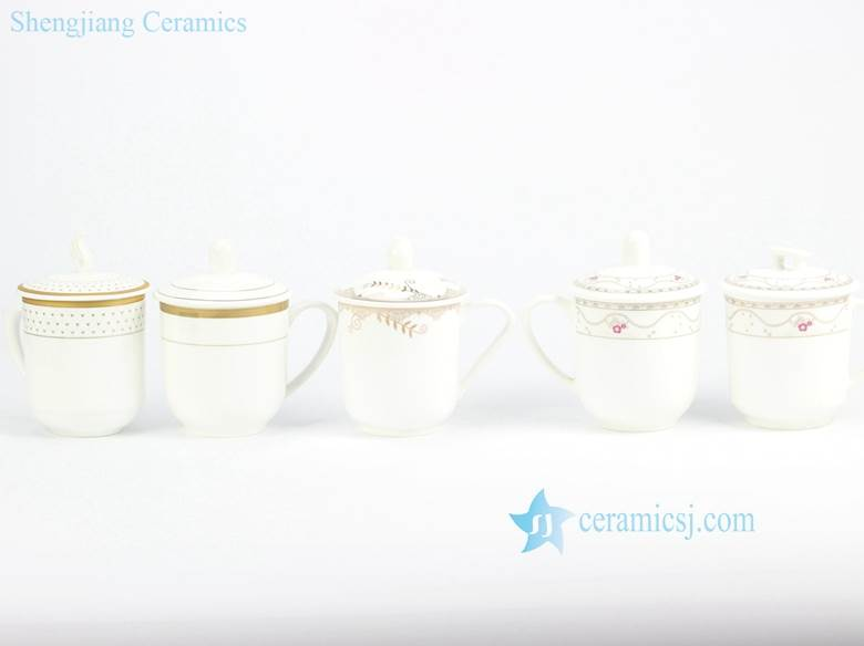 Daily use ceramic water cup with gold line