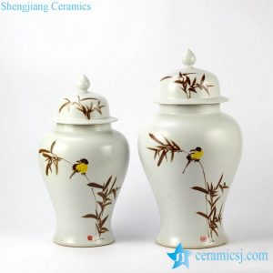 RYKB144 Serenity white background handcrafted bird branch pattern porcelain couple jar
