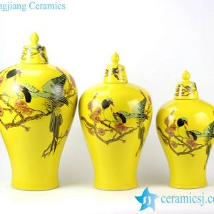 RYKB145 Set of three bird plumb flower mark yellow temple jar