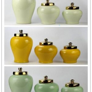 RYKB146-a/f/h Gold lid glossy surface solid color set of three modern decorative household porcelain jar