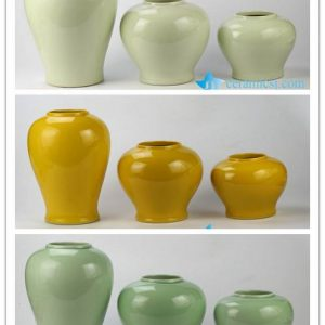 RYKB146-b/e/g glossy finished set of three simple style plain color ceramic urn