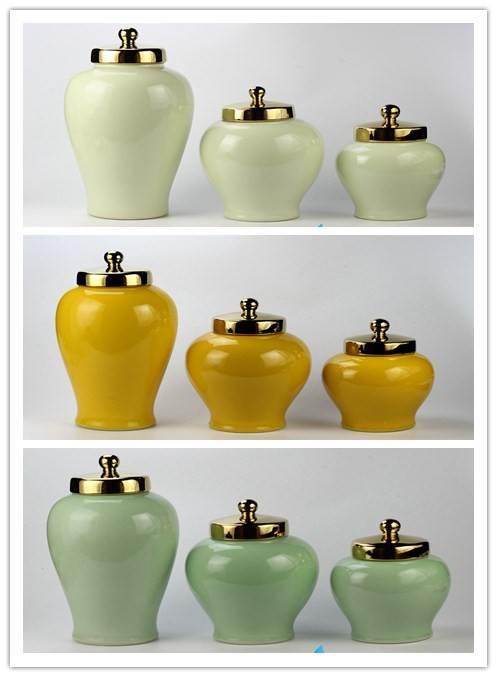 RYKB40afh Gold Lid Glossy Surface Solid Color Set Of Three Fascinating Decorative Ceramic Jars With Lids