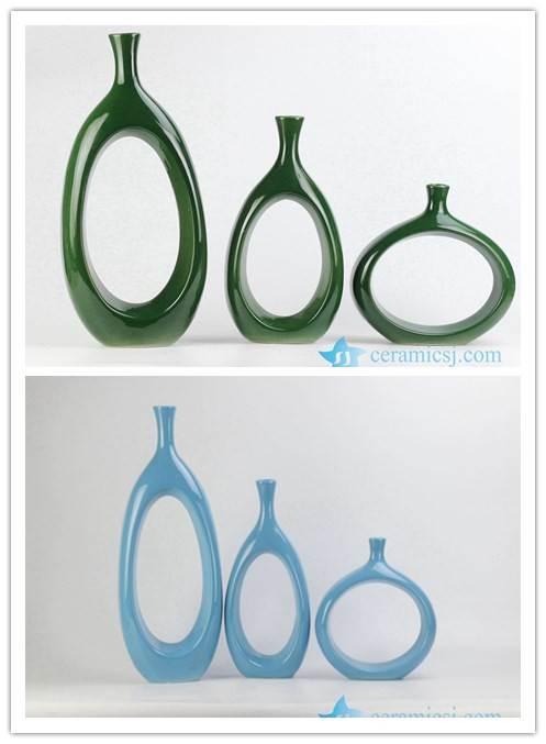 Unique design set of three ceramic decorative vase