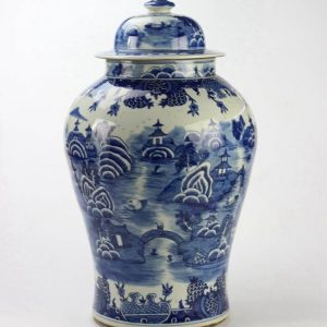 RYLU90-B Hot sale under glaze blue high temperature fired handcrafted water town pattern porcelain ginger jar