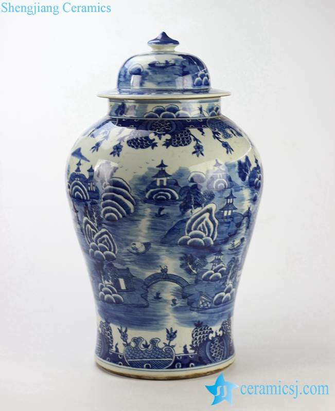 blue white hand paint southern China water town pattern ceramic high quality ginger jar