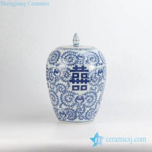 RYLU98 double happiness hand paint orchid pattern Chinese style blue and white ceramic wedding candle jar