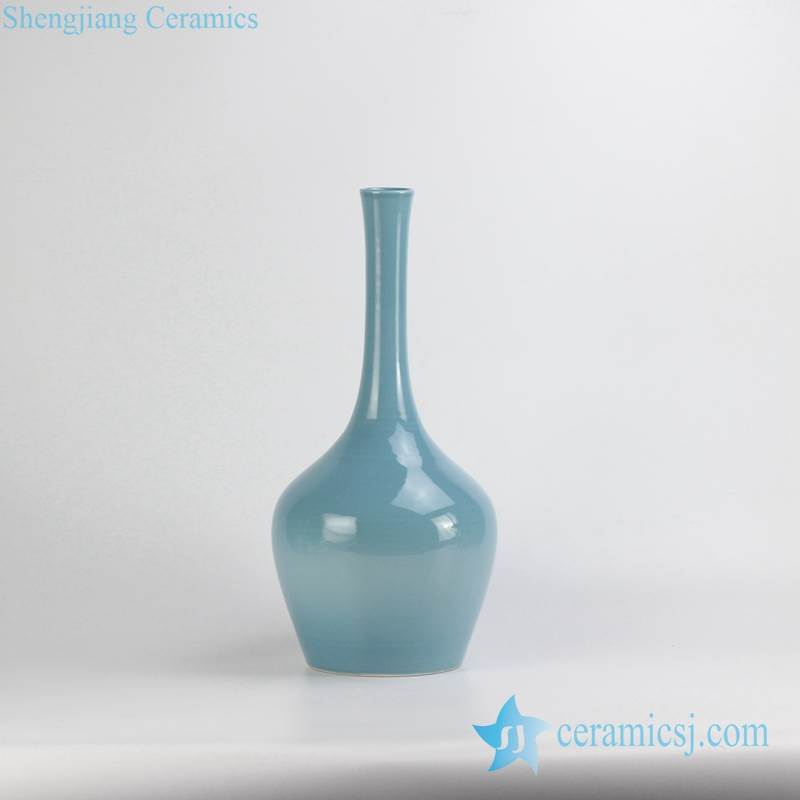 Home decor cerulean blue narrow long neck elegant ceramic vase