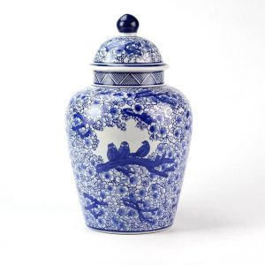 RYPU15-D Warm and sweet floral crowed bird family mark cobalt and white ceramic ginger jar