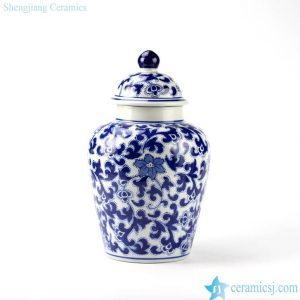 RYPU15-E Floral leaf mark dark blue color ceramic food preserve bottle