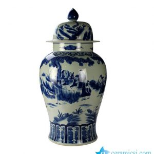 RYUC04 Oversize hand making cobalt and white scholar pattern ceramic temple jar
