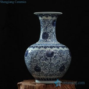 RZFQ03-A Blue and white interior design decorative round belly wide top ceramic vase