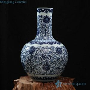 RZFQ03-B Hot sale item under glaze blue hand paint elegant round belly ceramic exporting vase