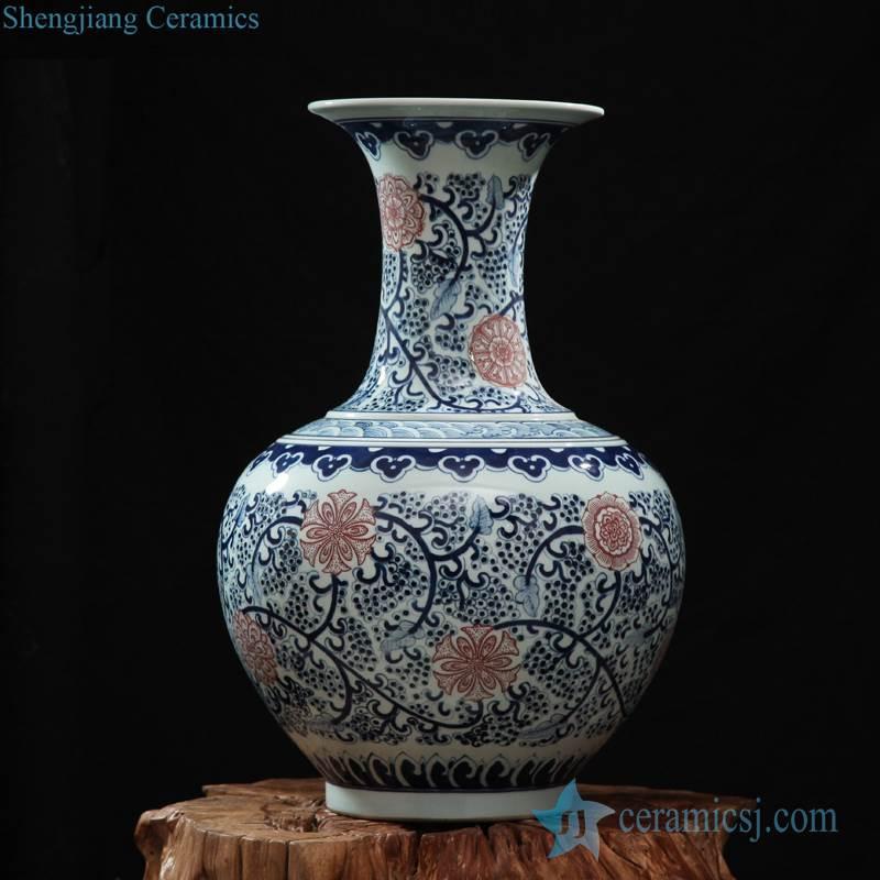 Blue and red floral pattern hand paint ceramic globular shape vase