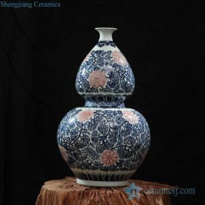 RZFQ03-F blue and red floral pattern hand paint ceramic calabash shape vase