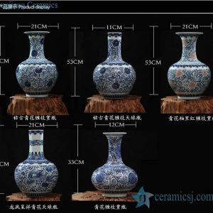 RZFQ03 Bulk Chinese blue and white round belly hand paint ceramic floral vase