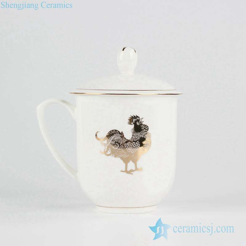2017 golden rooster pattern 2017 office gift present mug cup with lid