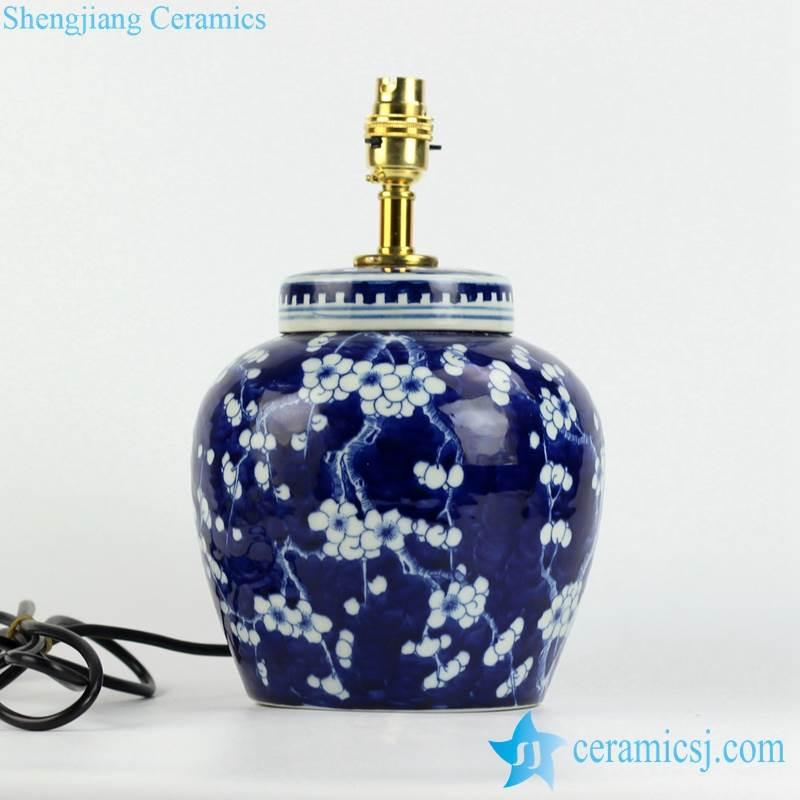 DS79-RYQQ53-D Dark blue and white winter sweet flower pattern ceramic jar lamp