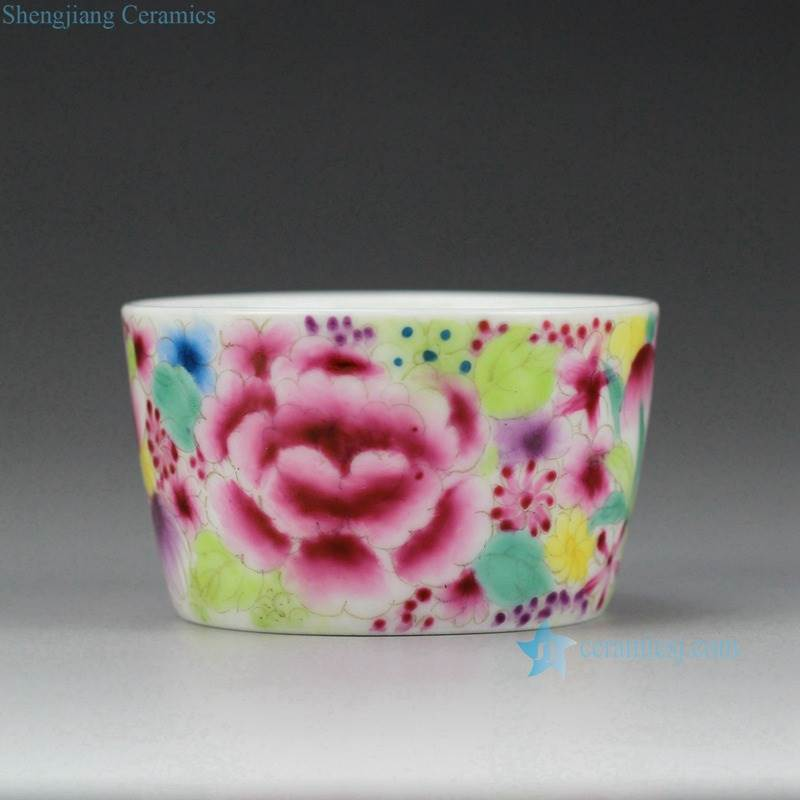 famille rose small floral tea cup