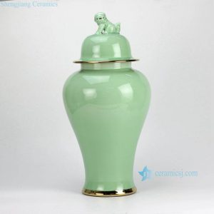 RYKB115-C-GOLD Tall glossy green glaze golden line plated lion knob porcelain jar for home art interior design