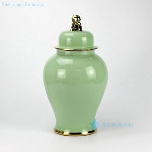 RYKB115-D Made in China turquoise ground glaze gold line and knob porcelain vase jar