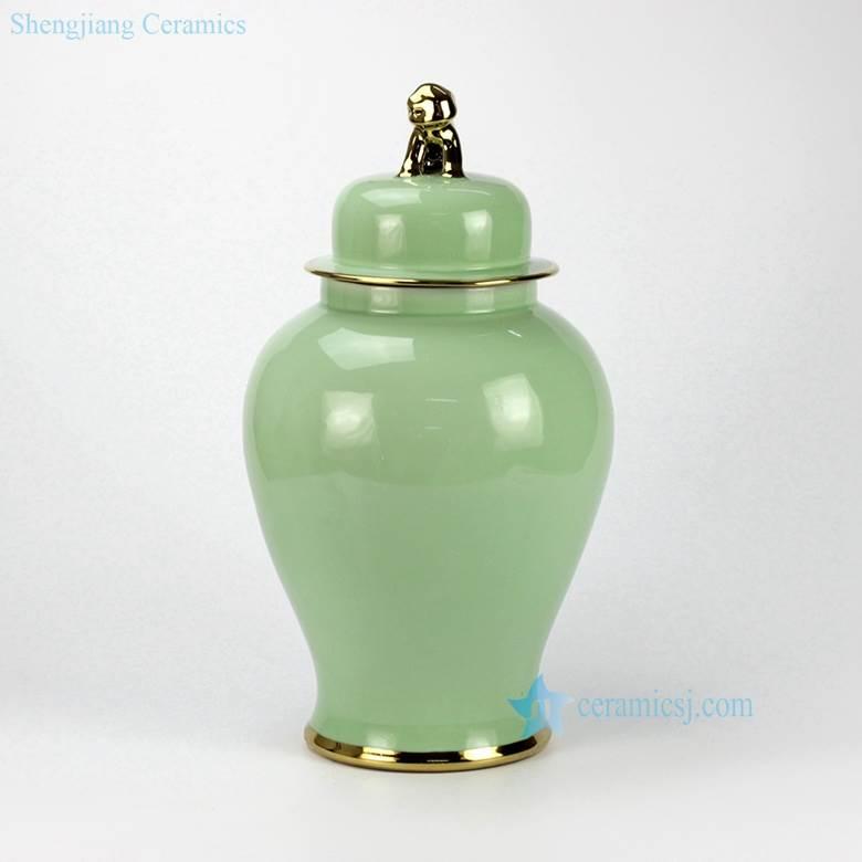 Jingdezhen China turquoise glaze golden foo dog lid and line ceramic temple jar