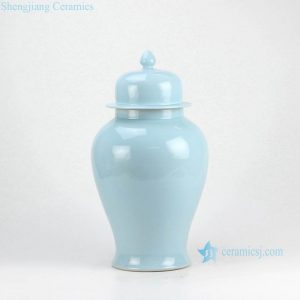 RYKB117-K Light blue contemporary home decorating furniture porcelain plain color jar