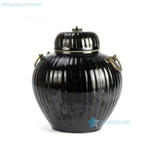 RYKB122-B Unique design black surface metal ring design ceramic small tea jar
