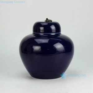RYKB123-D Indigo blue glaze shinny finish apple shape ceramic sundry jar