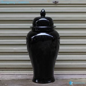 RYKB140-B Factory online sale plain color black porcelain modern ginger jar