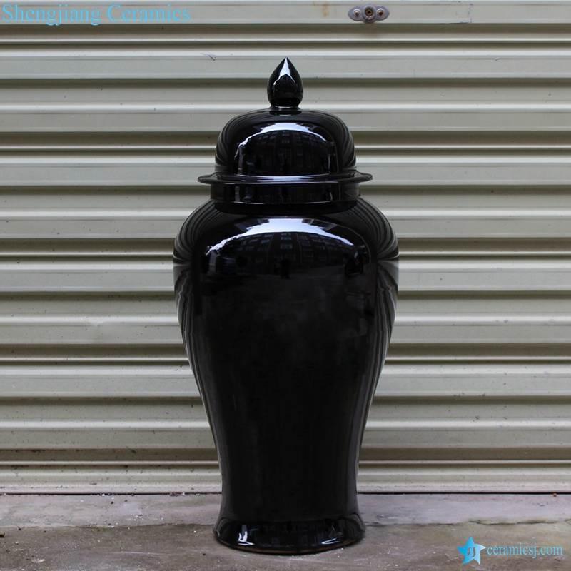 Glossy black glaze ceramic ginger jar