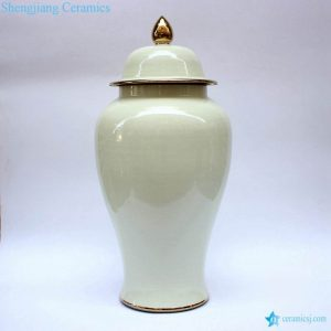 RYKB140-C America glossy milk white golden line ceramic large jar for wedding decor