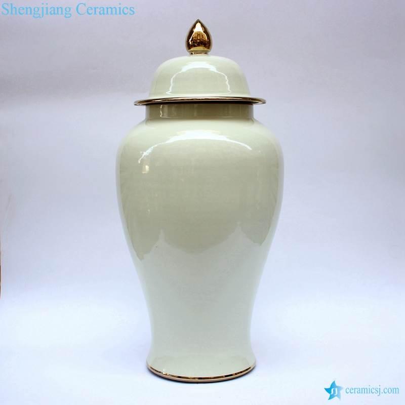 America glossy milk white golden line ceramic large jar for wedding decor