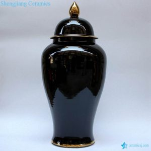RYKB140-D Large demension shinny black surface gold pleated ceramic jar