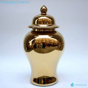 RYKB140-E Living room decor golden luxury ceramic vase with lid
