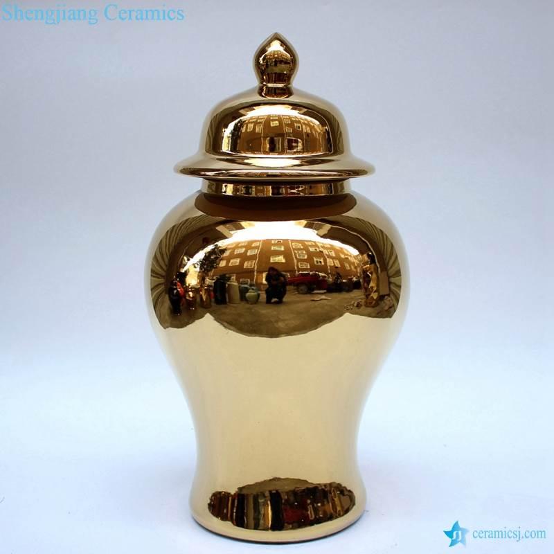 Golden luxury ceramic vase with lid