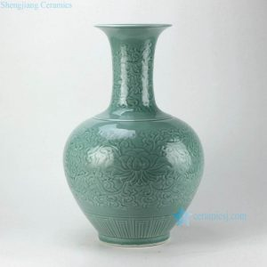 RYMA100 Under glaze carved lotus and inter lock branch pattern green ceramic flower vase