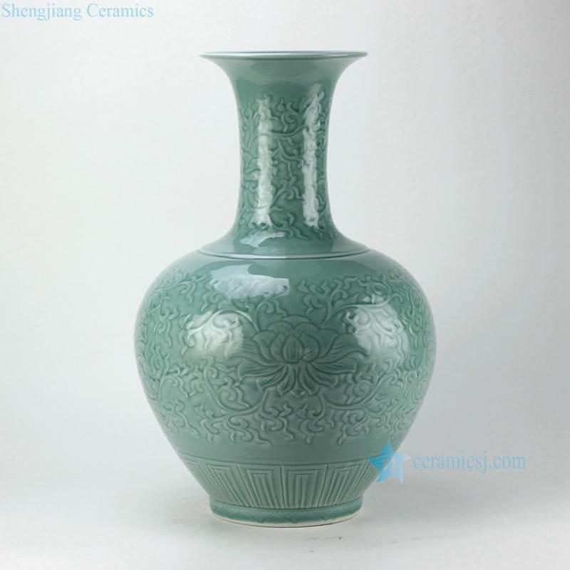 celadon glaze engraved ceramic flower vase