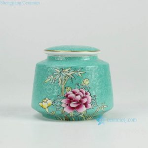 RYMY19-B Splendid peony flower manual needle painting ceramic sundry jar with gold rim