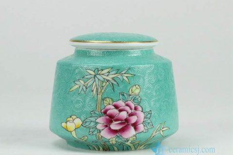 RYMY19-B Splendid peony flower manual needle painting ceramic sundry jar with gold rim